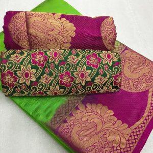 Kanjivaram Tussar Silk Saree – FB4215 | Parrot Green | CC-14