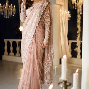 Net Embroidered Saree – FB4213 | Pink