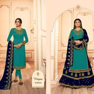 Satin Semi Stitch Dress – FB4214   Firozi