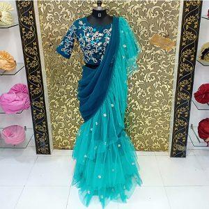 Net Ruffle Saree - MPP1469  Blue