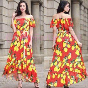 Printed Rayon Dress - FG2522   Red