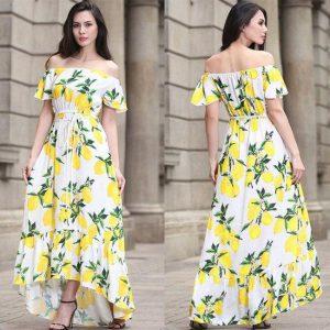 Printed Rayon Dress - FG2522   White
