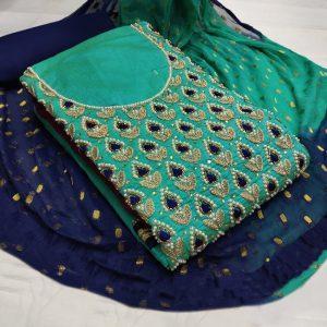 Chanderi Embroidered Dress - MPP1477 | Green