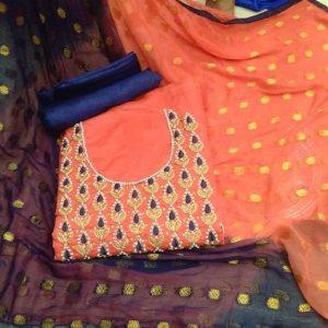 Chanderi Embroidered Dress - MPP1477   Peach