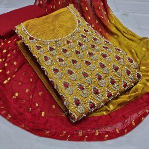 Chanderi Embroidered Dress - MPP1477   Mustard
