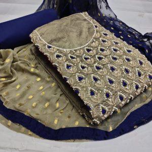 Chanderi Embroidered Dress - MPP1477   Gray