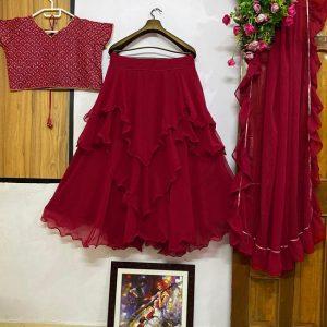 Georgette Semi Stitch Lehanga Choli - FG2578 | Red