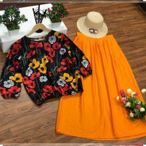 Crepe Stitched Top&Skirt - FG2627 | Orange | CC-11
