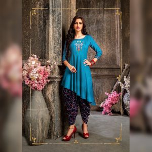 Colored Rayon Kurti – FB4219 | Blue