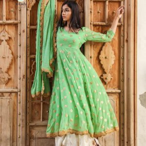 Georgette Embroidered Dress – FB4212 | Light Green