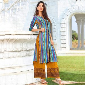 Rayon Embroidered Dress – FB4223 | Multi