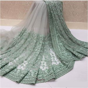 Nylon Net Embroidered Saree – FB4222 | Light Green