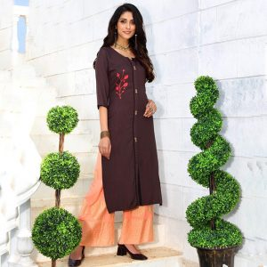 Rayon Embroidered Dress – FB4223   Dark Brown