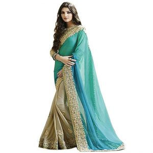Lycra&Georgette Embroidered Saree – FG2518 | Firozi