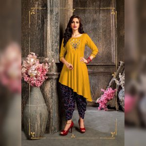 Colored Rayon Kurti – FB4219 | Mustard