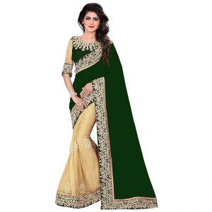 Lycra&Georgette Embroidered Saree – FG2518 | Green