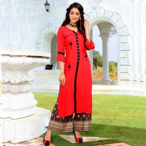 Rayon Embroidered Dress – FB4223 | Red