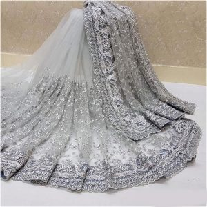 Nylon Net Embroidered Saree – FB4222 | Light Gray