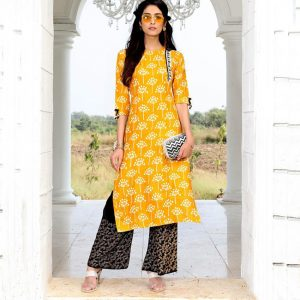 Rayon Embroidered Dress – FB4223 | Yellow