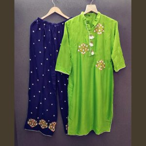 Rayon Embroidered Dress – FB4217 | Green