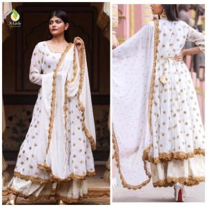 Georgette Embroidered Dress – FB4212 | White
