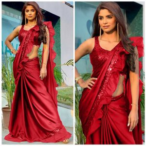 Rangoli Silk Ruffle Saree - FB4256 | Red