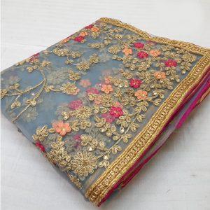 Net Embroidered Saree - FG2703   Gray