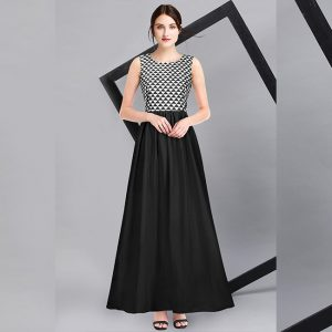 American Crepe Stitch Gown - FG2736 | Black