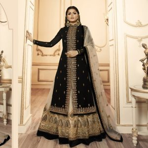 Georgette Embroidered Dress Material - FG2640 | Black