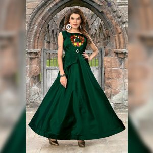 Art Silk Stitch Gown - MPP1627 | Green | CC-07
