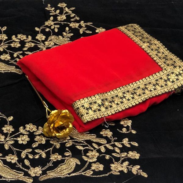 Georgette Embroidered Saree - FB4257 | Red