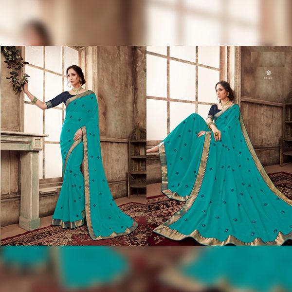 Chiffon Flower work saree - MPP1651 | Blue