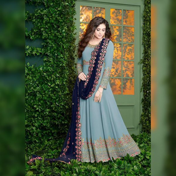 Georgette Embroidered Dress - FB4254   Blue