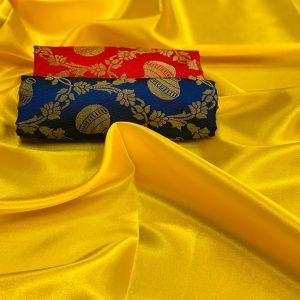 Satin Double Blouse Saree - FB4255 | Yellow | CC-09