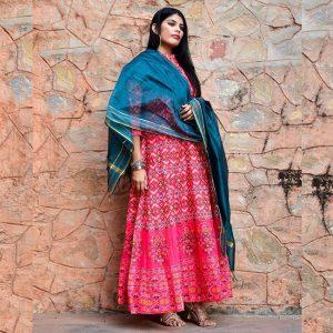 Banglori Silk Gown - FG2710 | Pink | CC-04