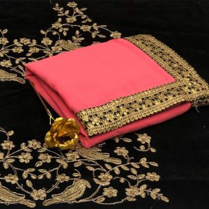 Georgette Embroidered Saree - FB4257 | Pink