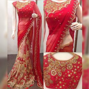 Georgette&Soft Net Embroidered Saree - FG2748 | Red