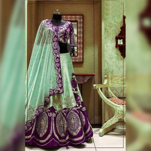 Silk Lehanga Un-Stitch Blouse- FG2717 | Dark Purple