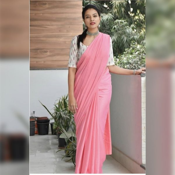 Satin Silk Saree - FB4259 | Pink