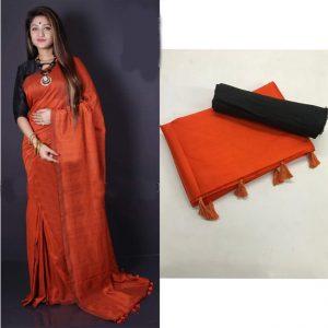 Soft silk Saree - FG2684   Dark Orange