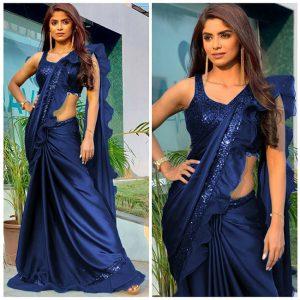 Rangoli Silk Ruffle Saree - FB4256 | Blue