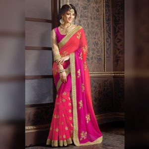 Georgette Embroidered Saree - FG2680   Pink