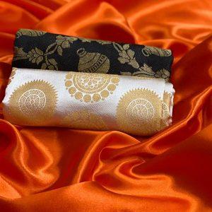 Satin Double Blouse Saree - FB4255 | Orange | CC-08