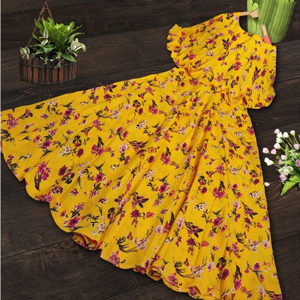 Crepe Stitched Dress - FG2696 | Yellow