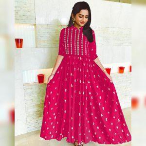 Rayon Stitched Dress - MPP1616 | Dark Pink