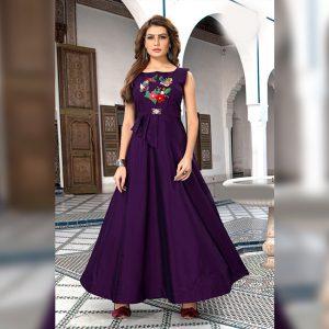 Art Silk Stitch Gown - MPP1627 | Dark Purple | CC-05