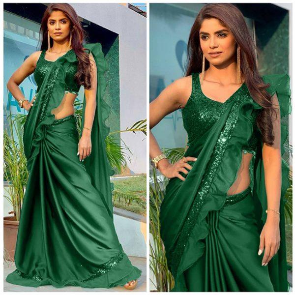 Rangoli Silk Ruffle Saree - FB4256 | Green