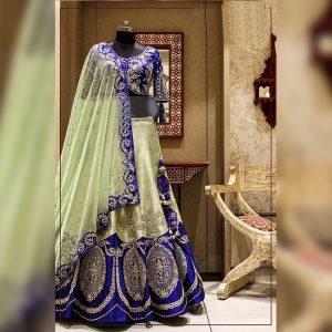 Silk Lehanga Un-Stitch Blouse- FG2717 | Royal Blue