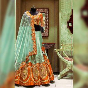 Silk Lehanga Un-Stitch Blouse- FG2717 | Orange