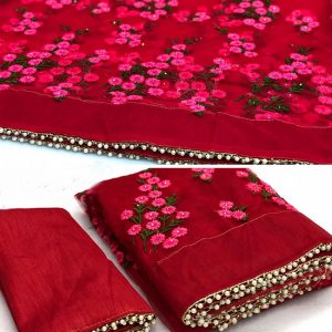 Net Embroidered Saree - MPP1621   Red